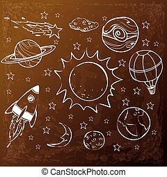 Space Theme Doodle, White on Grunge Brown
