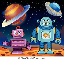 Space theme with robots 2 - eps10 vector illustration.