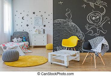 Space themed bedroom - Cozy space themed bedroom for...