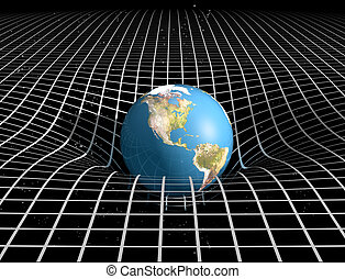 Space Time and Gravity - Original illustration showing the...