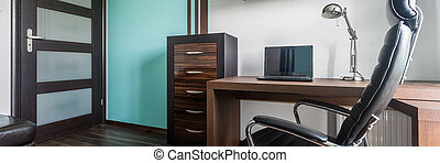 Space to work at home with simple and modern design, panorama