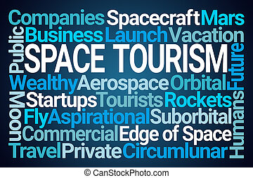 Space Tourism Word Cloud on Blue Background