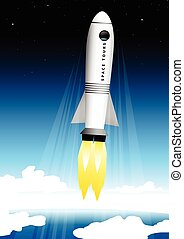 Space tourist rocket blasting off at the launch pad into...
