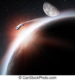 Space transportation and technologies in the future, abstract backgrounds