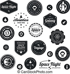 Space travel badges - Set of retro and modern space travel...
