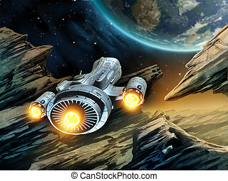 Space travel - Futuristic spaceship traveling over a rocky ...