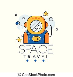 Space travel logo design template, space mission and exploration label vector Illustration on a white background