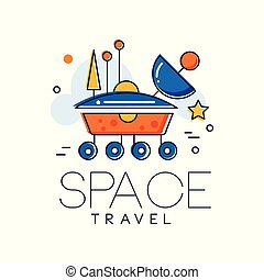 Space travel logo, Mars space mission badge vector Illustration on a white background