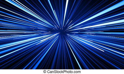 Space Travel Through Stars Trails Blue Color. Beautiful Abstract Hyperspace Jump. Digital Design Concept. Looped 3d Animation of Glowing Lines 4k Ultra HD 3840x2160.