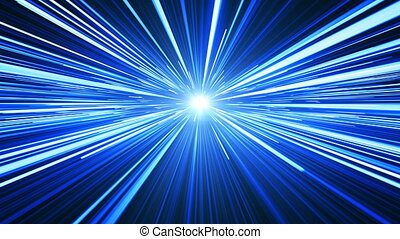 Space Travel Through Stars Trails Blue Color to the Light. Beautiful Abstract Hyperspace Jump. Digital Design Concept. Looped 3d Animation of Glowing Lines 4k Ultra HD 3840x2160.