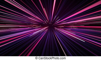Space Travel Through Stars Trails Pink-Blue Color. Beautiful Abstract Hyperspace Jump. Digital Design Concept. Looped 3d Animation of Glowing Lines 4k UHD 3840x2160.