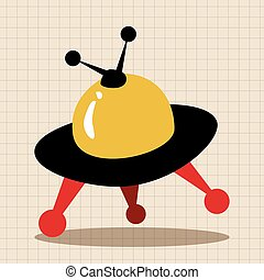 Space UFO flat icon elements background, eps10