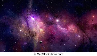 Imaginary beauty of colorful nebula stars and universe