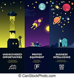 Space vector banners with flat astronomic ufo icons and...