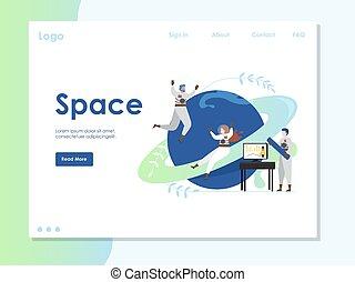 Space vector website landing page design template