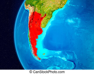 Space view of Argentina in red