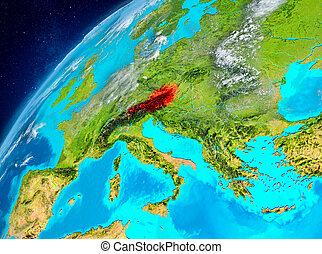 Space view of Austria in red