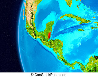 Space view of Belize in red