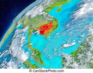 Space view of Cambodia in red