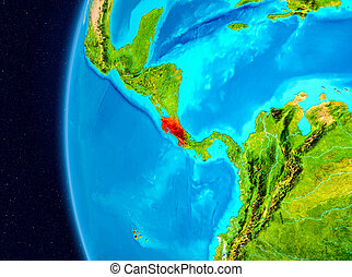 Space view of Costa Rica in red