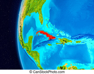 Space view of Cuba in red