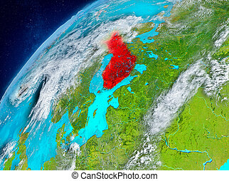 Space view of Finland in red