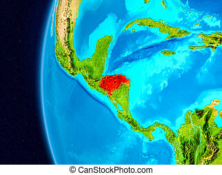 Space view of Honduras in red