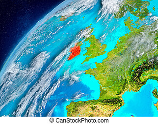 Space view of Ireland in red