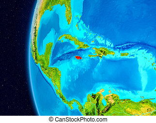 Space view of Jamaica in red