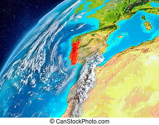 Space view of Portugal in red
