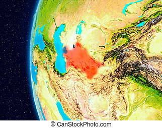 Space view of Turkmenistan in red