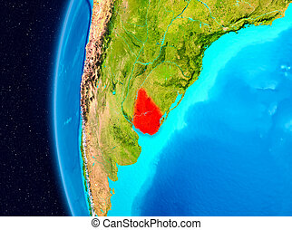Space view of Uruguay in red