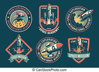 Space vintage badges, emblems and labels set. Rocket retro ...
