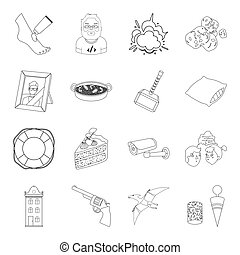 space, war, finance and other web icon in outline style. beauty, travel, cooking icons in set collection.