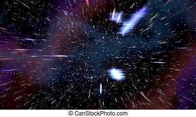 Space warp speed hyperspace travel through starfield nebula 4K