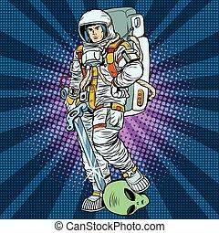 space warrior is the winner alien pop art retro vector. Starship troopers. Military fiction