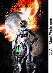 Space warrior woman