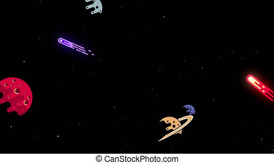 Space with planets comets and stars. Flat style. Animated ...