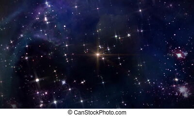 space with yellow star cross - the mystery of star glowing...