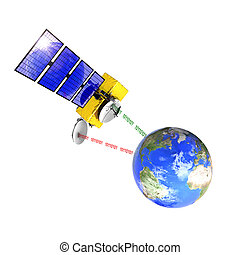 Spacecraft emitting and receiving data from the control...