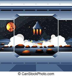 Spacecraft interior view and window