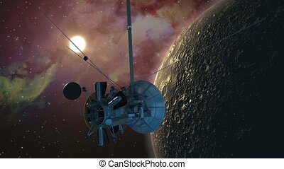 Spacecraft orbiter passing a planet