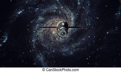 Spacecraft Progress orbiting the galaxy.
