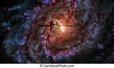 Spacecraft Progress orbiting the spiral galaxy.