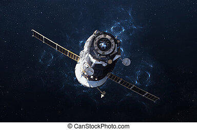 Spacecraft Soyuz. Elements of this image furnished by NASA