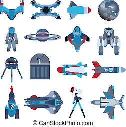 Spacecrafts rocket icon set. Spaceship galaxy concept in cartoon style isolated on white background. Vector