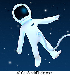 Spaceman - A spaceman floating into Space.