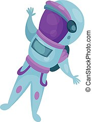 Spaceman character, astronaut flying in Space cartoon vector Illustration