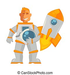 Spaceman in pressure suit and spaceship that takes off -...