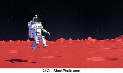Spaceman in space suit on Mars surface walk with low gravity. 3D render looped animation.